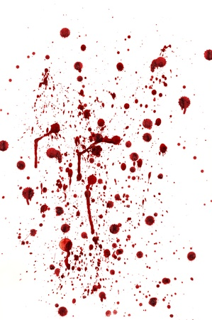 bloodstain: spots and splashes of blood on a white background