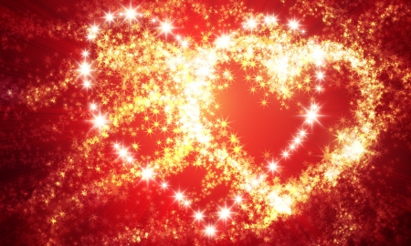 red love heart with flames: abstract heart of sparks and the lights on a dark background