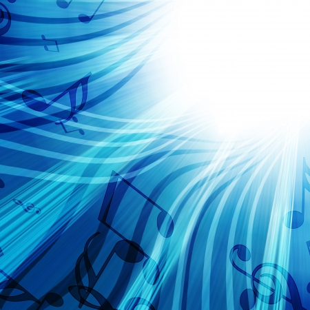 Abstract flowing blue background with music photo