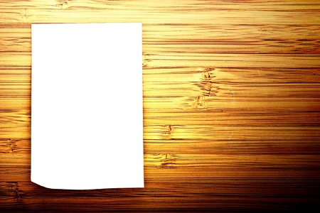 blank sticker glued to a bamboo board Stock Photo - 16341009