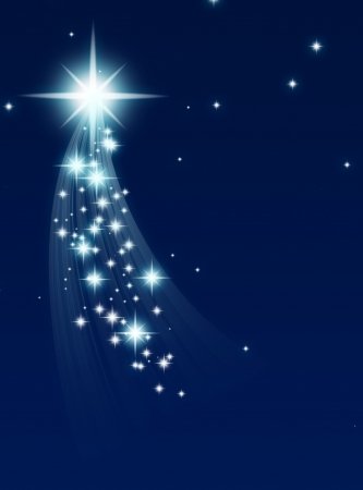 advent: climbing star, on a dark starry background