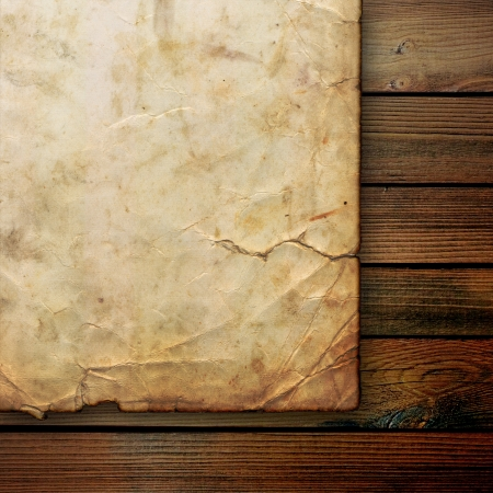 surface aged: Closeup of wrinkled parchment paper