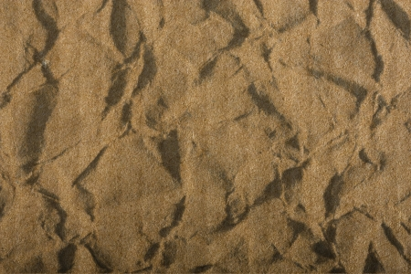 goffer: crumpled brown corrugated cardboard sheet background Stock Photo