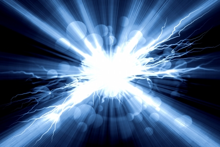 bolt: Electric  flash of lightning on a blue background Stock Photo