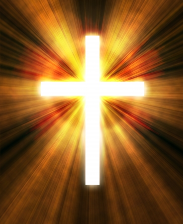 cross light:  glowing cross on a black background, with radial rays of light