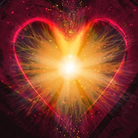 saint valentin coeur: c?ur br�lant �clair, une explosion sur un fond sombre