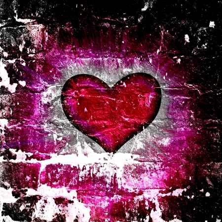 red heart with rays on a black background, abstract Stock Photo - 16341135