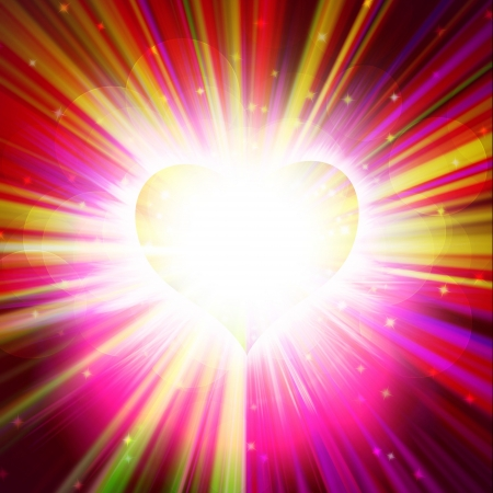 red heart with rays on a black background, abstract Stock Photo - 16340316