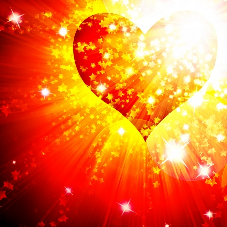 red heart with rays  background, abstract Stock Photo - 16340396