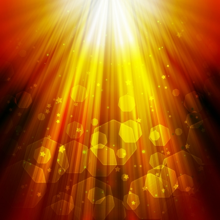 intense: shining rays of glare and stars on a dark background, abstract