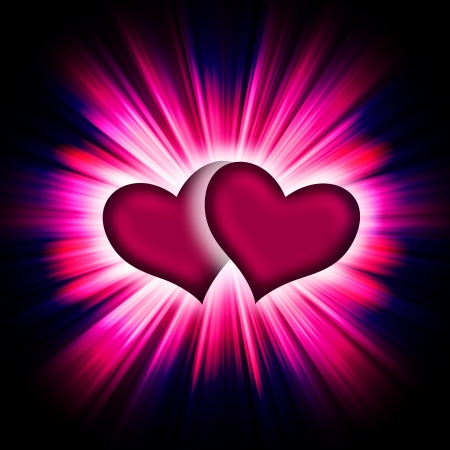 two hearts with rays on a black background, abstract Stock Photo - 16340394