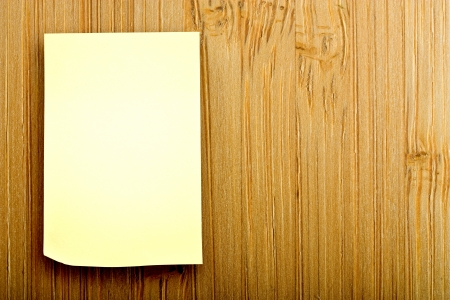 blank sticker glued to a bamboo board Stock Photo - 16340831