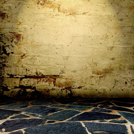 old wall and floor. There is an empty seat for design Stock Photo - 16341118