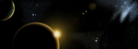 prerequisite: planet with sunrise on the background of stars and galaxies Stock Photo