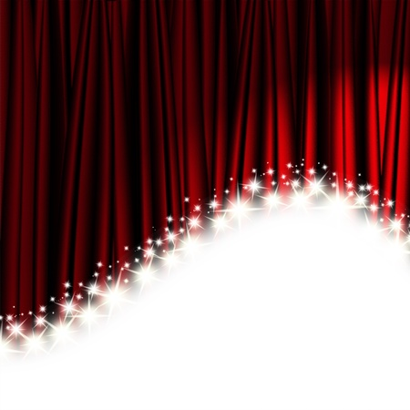 red theater curtain with stars Stock Photo