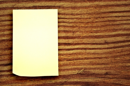 blank sticker glued to a wood background Stock Photo - 16340825