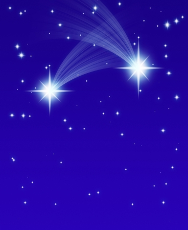 meteor shower: Falling Stars, on a dark starry background