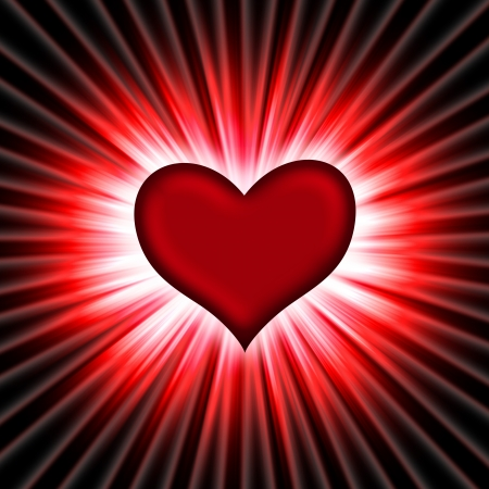 red heart with rays on a black background, abstract Stock Photo - 16340407