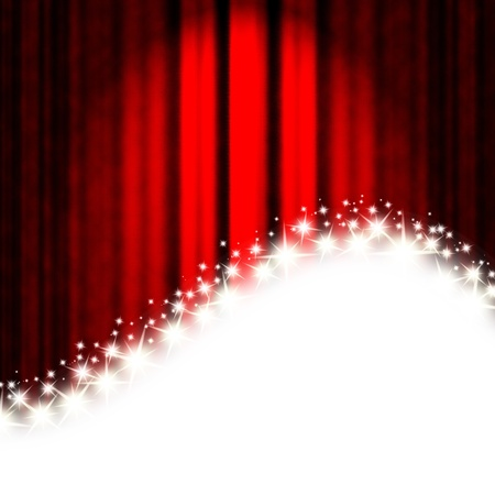 theatrical performance: red stripes and stars on a white background