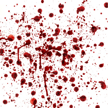blood drops: spots and splashes of blood on a white background