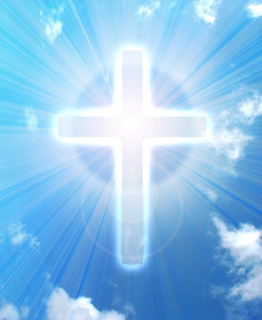 almighty:  glowing cross on a sky, with radial rays of light   Stock Photo