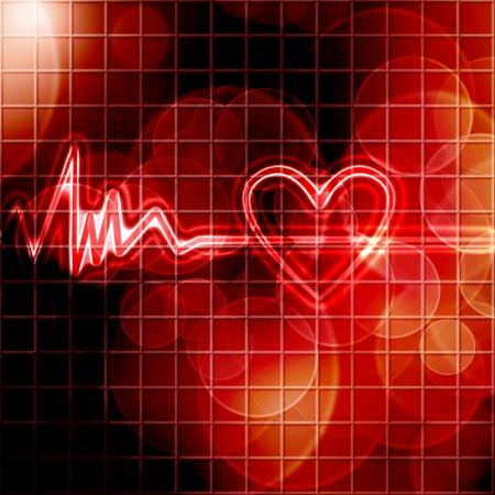 coeur sant�: moniteur de fr�quence cardiaque abstrait sur un fond rouge fonc� Banque d'images