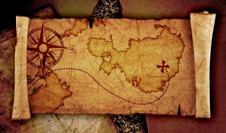 treasure hunt: old treasure map, on the old vintage background  Stock Photo