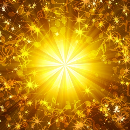 golden abstract background with music notes and stars Stock Photo