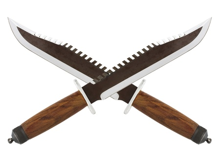 maniac: Crossed knives pirates, hunting knife with teeth Stock Photo
