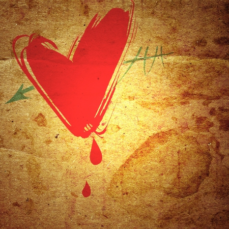 waivers: heart with an arrow, and drops of blood on the background grunge board