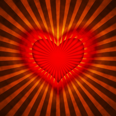 red heart with rays on a grunge  background, abstract Stock Photo - 16341408