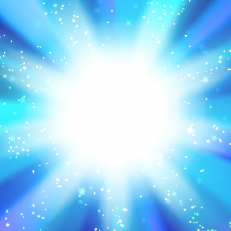asterisks: sun on a blue sky with rays and stars, abstract background