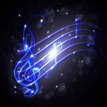 burning musical symbols and curls on a dark background  photo