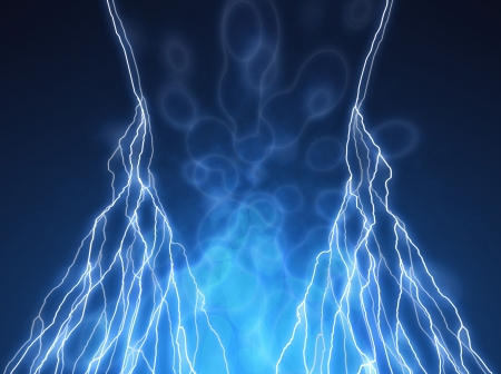 thunderclap: abstract lightning and light effects on a dark background Stock Photo