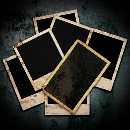 Blank photo frame on the grunge background  photo