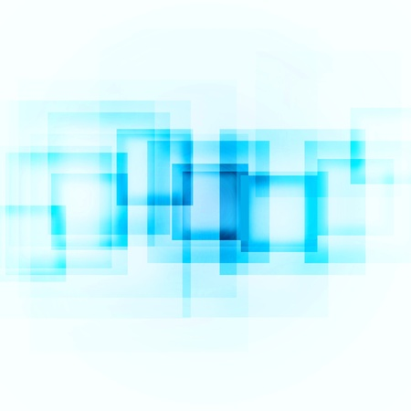 action blur: abstract blue squares on a white background