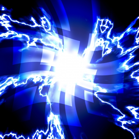 abstract blue squares with lightning. on a dark background photo