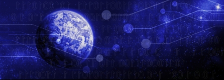 digital world, with sunrise on the background with integrated bits and bytes Stock Photo - 16396113