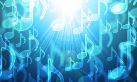 basic scheme: lights in the form of musical symbols on a dark Stock Photo