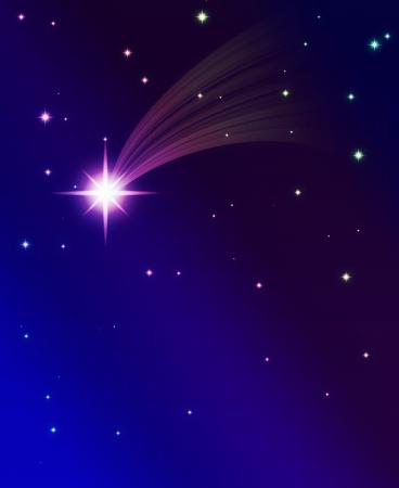 meteor shower: falling star, on a dark starry background