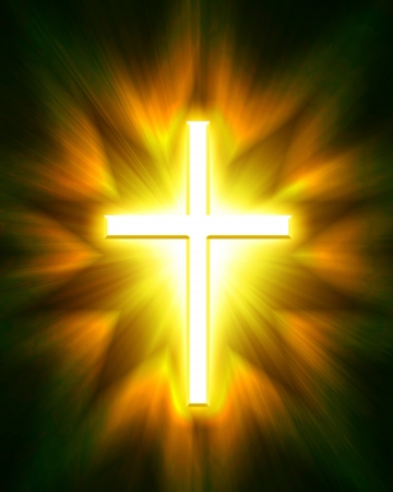 almighty:     glowing cross on a black background, with radial rays of light Stock Photo