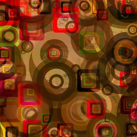grunge circles squares on the wall, abstract background  photo