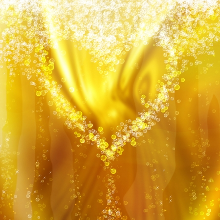 champagne toast: heart of the bubbles in a glass of champagne, romantic background
