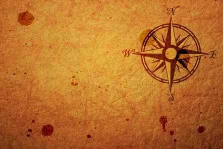 treasure hunt: old map with a compass on it