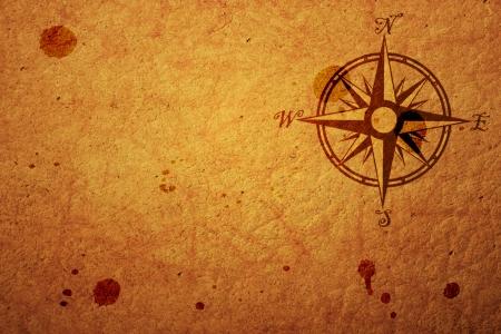 mapa del tesoro: viejo mapa con una br�jula en �l Foto de archivo
