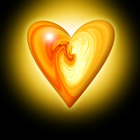 gift of hope: abstract amber heart on a dark background with the effect of luminescence