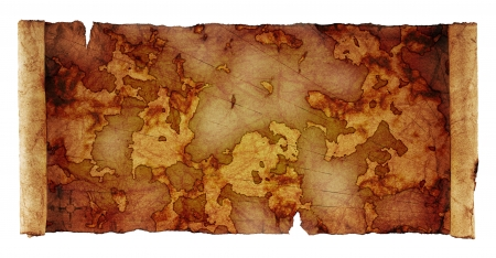 topography:   ancient scroll map, isolated on a white background