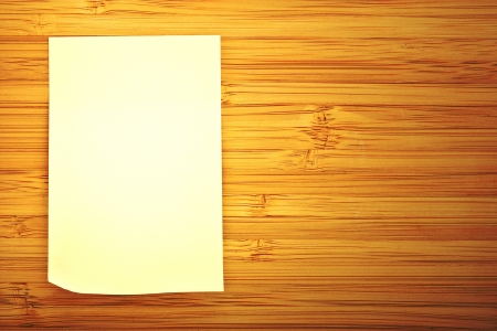 blank sticker glued to a bamboo board Stock Photo - 16487741