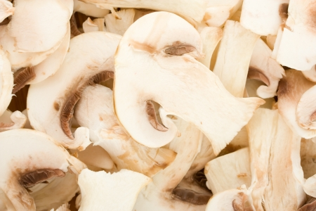 thinly sliced fresh mushrooms, white mushrooms background texture