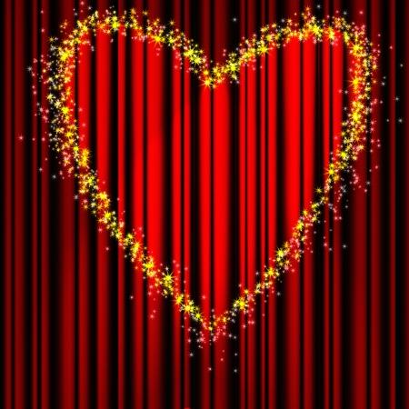 broadway show: Giorno di San Valentino Cuore di teatro tenda rossa con una luce a forma di cuore